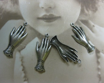 Silver Ox Plated Victorian Style Hands Charms 458SOX x4