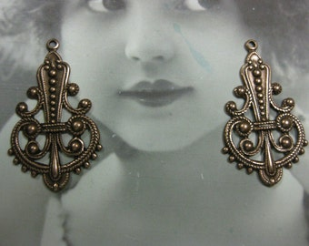 Copper Ox Plated Ornate Filigree earring Drops 487COP x2