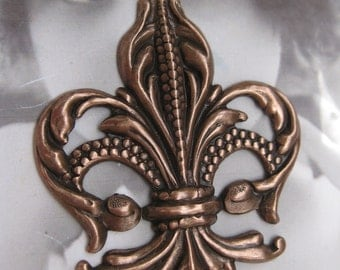 Fleur De Lis Stamping CopperOx Plated Very Large 1052COP x1