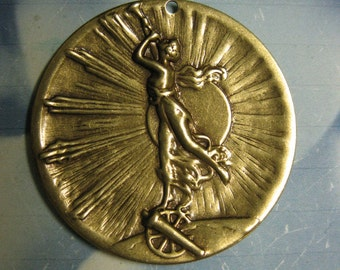 Brass Ox Plated Art Nouveau Woman Floral Stamping Pendant 1047BOX x2