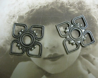 Silver Ox Plated 4 Hearts Squared Floral Stamping Pendant 1048SOX x2