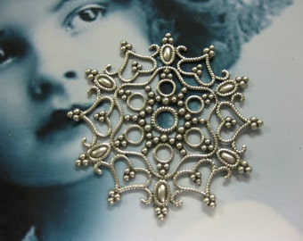 Sterling Silver Ox Plated  Snowflake Filigree 17SOX x1