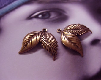 Copper Ox Plated Double Leaf Charms 1159COP x2