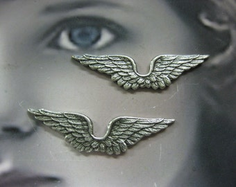 Sterling Silver Ox Plated Small Angel Wing Brass Stampings 362SOX x2