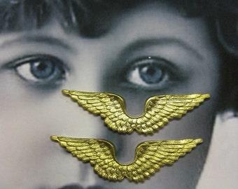 Raw Brass Angel Wing Stampings 363RAW x2