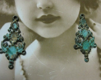 Floral Brass Drops in a Hand Aged Verdigris Patina 497VER x2
