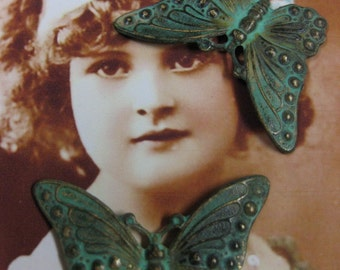 Verdigris Patina Butterfly Stampings 331VER x2