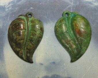Verdigris Patina Fat Leaf Charms 63VER x4