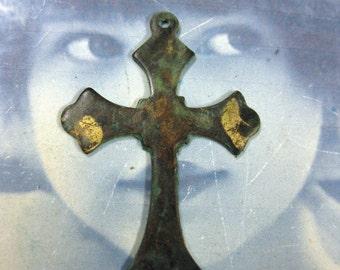 Verdigris Patina Solid Brass Cross Pendants 844VER x2