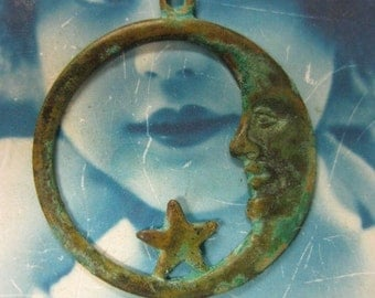 Verdigris Patina Large Moon and Star Pendant Charms 678VER X2