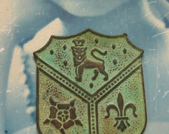 Vintage Brass Verdigris Patina Coat of Arms Stampings 573VER x2