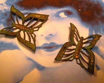 Verdigris Patina Brass Butterflies 1136VER x2