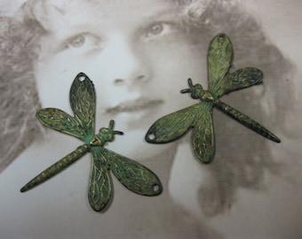 Verdigris Patina Dragonfly Charms 2 Holes 324VER x2