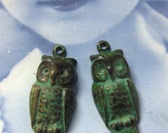 Verdigris Patina Brass Owl Charms 739VER x2
