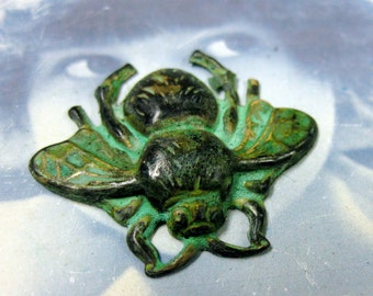 Verdigris Patina Brass Bumble Bee Pendants 848VER x2