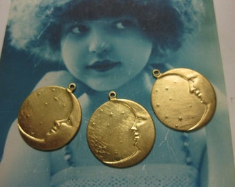 Celestial Brass  Moon and Star Charms pendants 135RAW x2