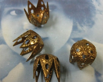 Raw Brass Ornate Filigree Bead Caps  801RAW x6