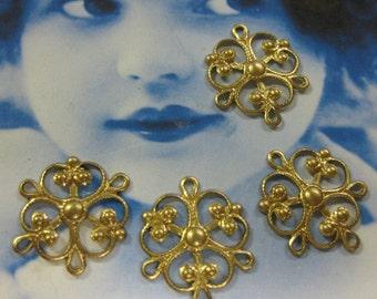 Raw Brass Filigree 3 ring Jewelry Connectors 3RAW x4