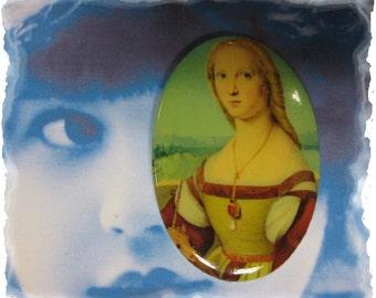 Vintage Renaissance Woman Porcelain 40x30 Cameo Cabochon 1069VIN X1