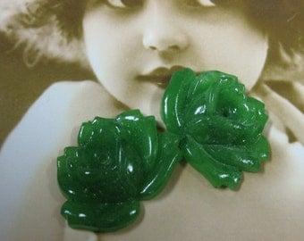 Vintage  Japanese Jade Glass Flower  Cabochons with Center Hole 901VINx2