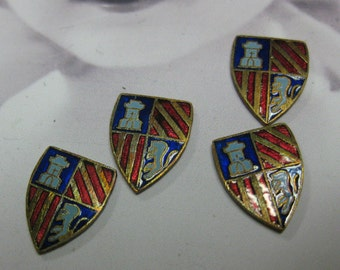Vintage Japan Enamel Metal Coat of Arms Shield Cabochons 1126VIN x4