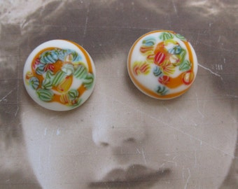 Vintage Japanese Porcelain Hand Painted Cabochons Orange 1107ORG x2