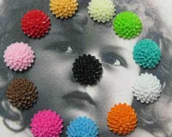 Resin Chrysanthemum Flower Cabochons Assorted Colors 1196FLO x10