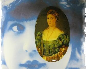 Vintage Renaissance Woman Porcelain 40x30 Cameo Cabochon 1068VIN X1