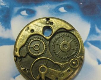Bronze Ox Patina Steampunk Watch Works Pendant 2005BRZ x2