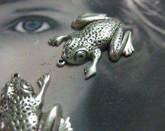 Sterling Silver Ox Plated  Frog Charms 792SOX x2