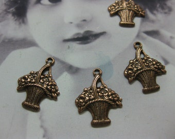Copper Ox Plated Petite Basket Of Flowers Charms 273COP x4