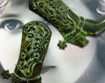 Verdigris Patina Floral Cowboy Boot Brass Charms 2032VER x1
