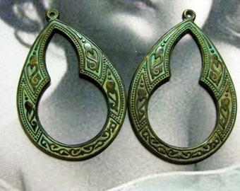 Verdigris Patina Brass Celtic Hoops 2034VER x2