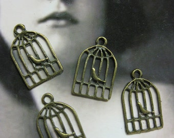 Bronze Ox Tibet Cast Small Bird in a Cage Charms  2042BRZ x4