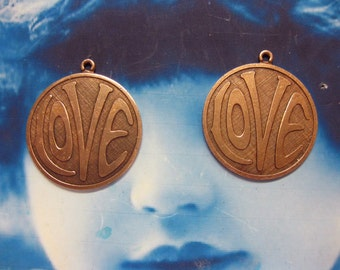 29mm Copper Ox Plated Retro LOVE Pendants  2035COP x2