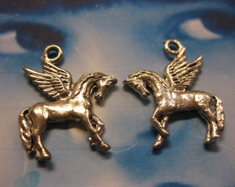Pewter Silver Ox plated Pegasus Horse Charms 2064SOX x2