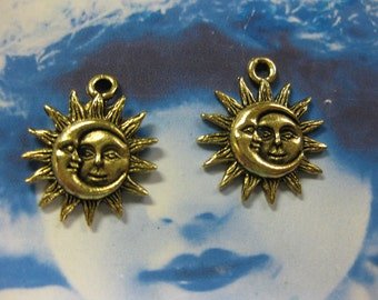 Antique Gold Plated Pewter Sun and Moon Charms 2074GOL x2