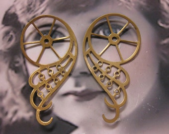 Steampunk Gear Wings Stamping Raw Brass Very Large 1055RAW x2