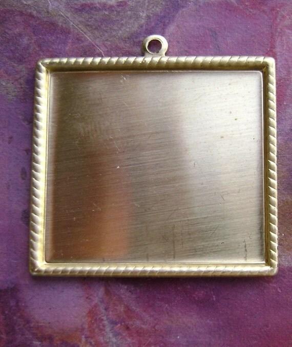 Fancy Square Brass Bezel Frame Charms x3Fancy Square Frame