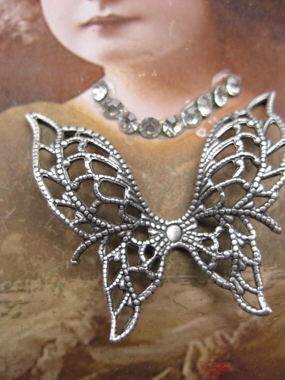 Great Filigree Angel Wings Silver Ox Plated Butterflies 334Sox x2