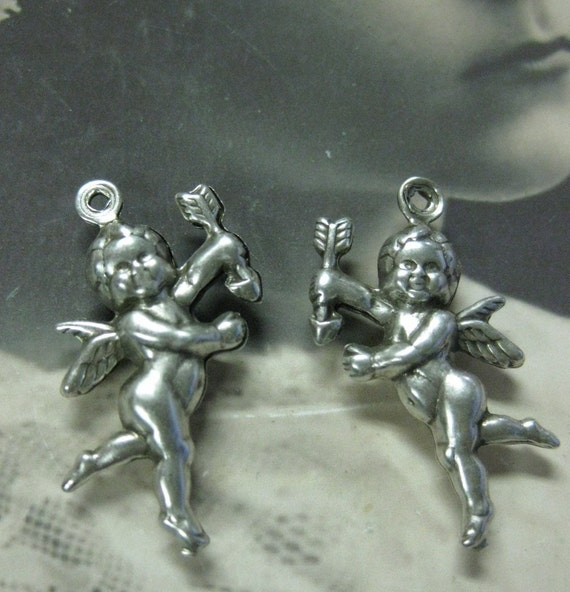 Sweet Silver Ox Plated Two Sided Cupid Charms Great for Jewelry 448SOX x2