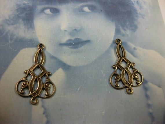Brass Ox Plated Filigree Brass  Earring Drops 469BOX x2