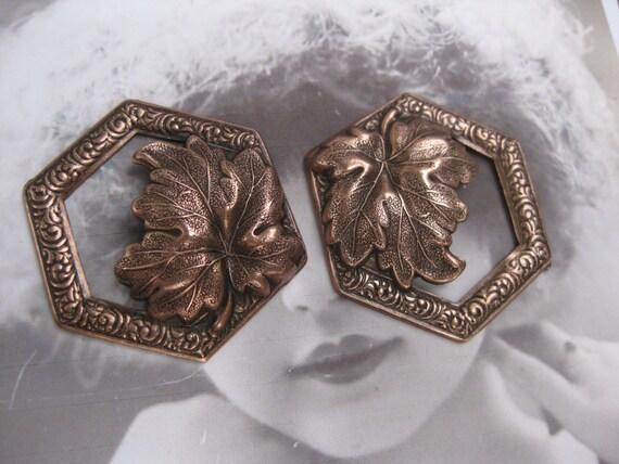 Copper Ox Plated Leaf Pendant Vintage Style 1081COP x2