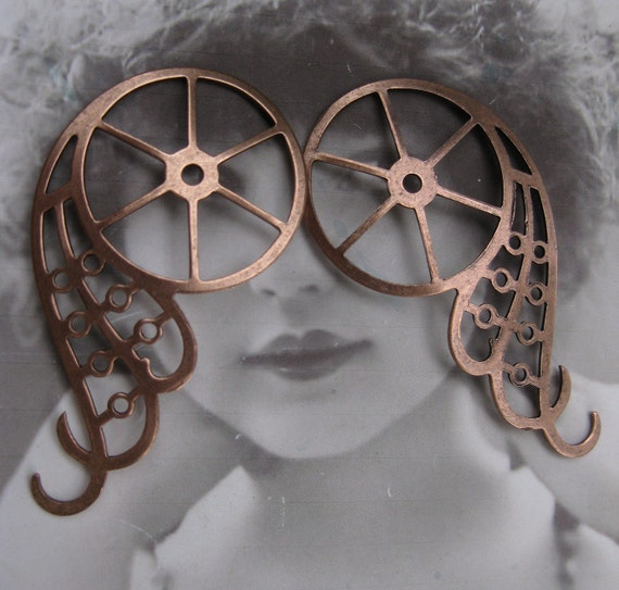 Steampunk Gear Wings Stamping Copper Ox PLated Very Large 1055COP x2