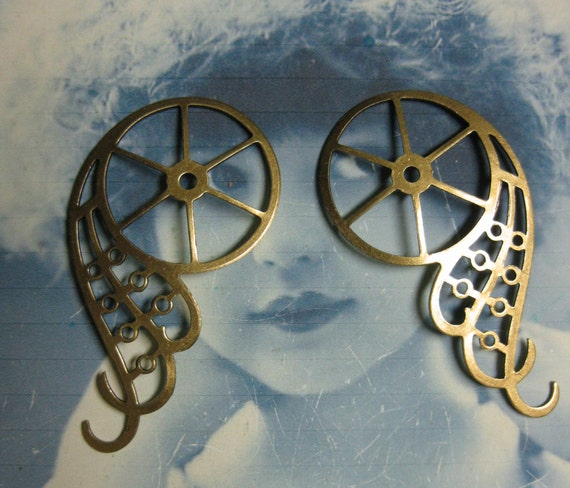 Steampunk Gear Wings Stamping Brass Ox PLated Very Large 1055BOX x2
