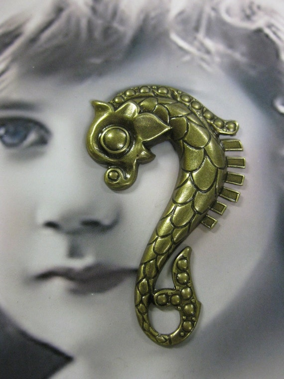 Brass Ox Plated Large Dragon Sea Horse Stamping 116BOX x1