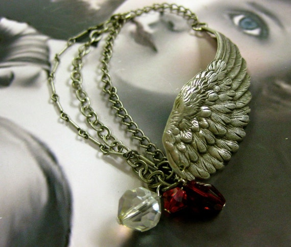 Silver Ox Plated Angel Wing Stampings Bent for bracelets or Straight You Choose 367SOX x2