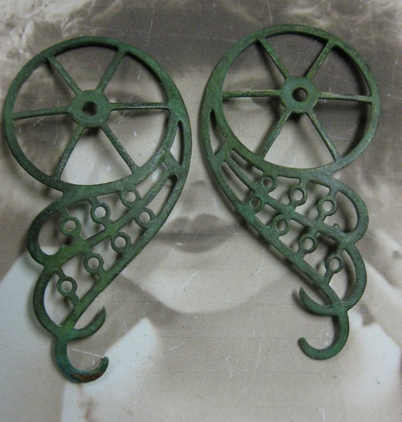 Steampunk Gear Wings Stamping Verdigris Patina Very Large 1055VER x2