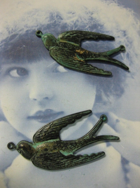 Verdigris Patina Swallows with 2 rings 302VERx2