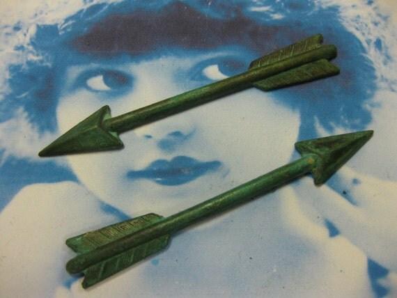 Hand Aged Verdigris Patina Long Arrow Stamping 1021VER x2